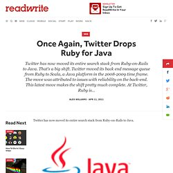 Once Again, Twitter Drops Ruby for Java - ReadWriteCloud