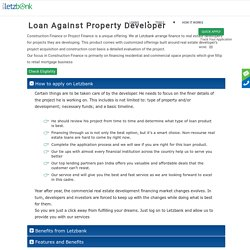 Loan against Developers Property at lowest ROI