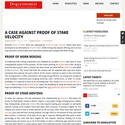 A case against Proof of Stake Velocity - Dogeconomist