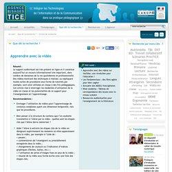 L'Agence nationale des Usages des TICE - Apprendre avec la vidéo