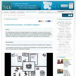 L'Agence nationale des Usages des TICE - Le texte écrit et sonore : une aide en langues ?