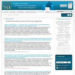 L'Agence nationale des Usages des TICE - Textes officiels