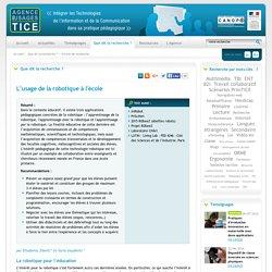 L'Agence nationale des Usages des TICE - L'usage de la robotique à l'école
