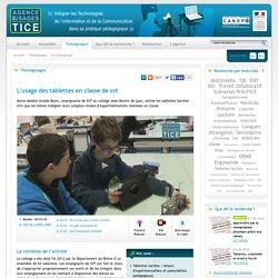 L'Agence nationale des Usages des TICE - L'usage des tablettes en classe de svt