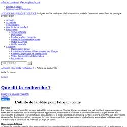 L'Agence nationale des Usages des TICE - L'utilité de la vidéo pour faire un cours
