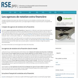 Agences de Notation Extra Financières - ISR, Notation, Analyse
