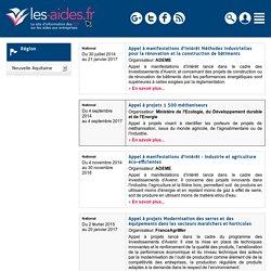 Agenda des appels à projet pour la région d'Nouvelle Aquitaine - Les-aides.fr