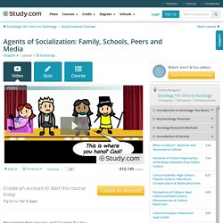 Agents of Socialization: Family, Schools, Peers and Media