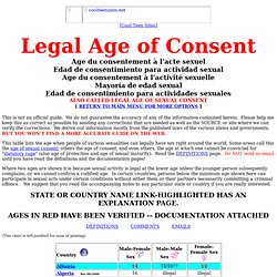 LEGAL AGE OF CONSENT  (ageofconsent.com)      Age du consentement à l'acte sexuel