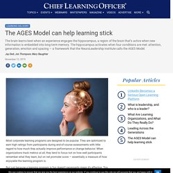 The AGES Model can help learning stick