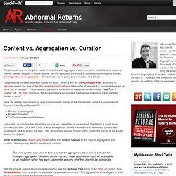Content vs. Aggregation vs. Curation Abnormal Returns