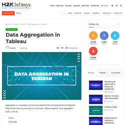 Data Aggregation in Tableau - H2kinfosys Blog