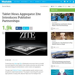 Tablet News Aggregator Zite Introduces Publisher Partnerships