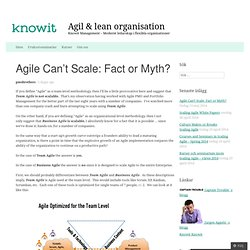 Agile Can't Scale: Fact or Myth?