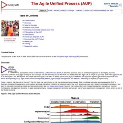 The Agile Unified Process (AUP)