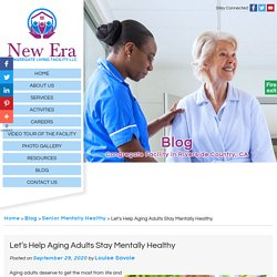 Let's Help Aging Adults Stay Mentally Healthy