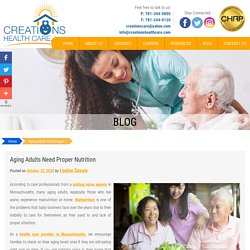 Aging Adults Need Proper Nutrition