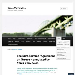 The Euro-Summit 'Agreement' on Greece – annotated by Yanis Varoufakis