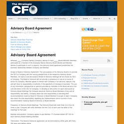 Advisory Board Agreement - Strategic CFO