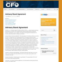 Advisory Board Agreement - Strategic CFO