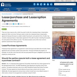 Lease/purchase and Lease/option Agreements