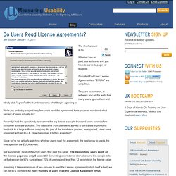 Do users read license agreements?: Measuring Usability Blog