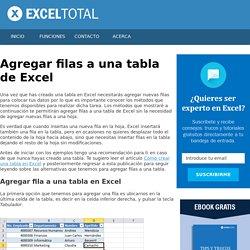Agregar filas a una tabla de Excel - Excel Total