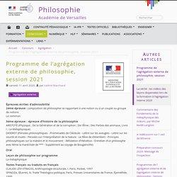 Programme de l'agrégation externe de philosophie, session 2021 - Philosophie