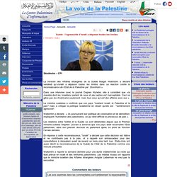 Suède : l'agressivité d'Israël a dépassé toutes les limites