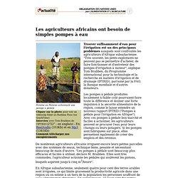 FAO - Les agriculteurs africains ont besoin de simples pompes à eau