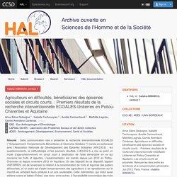 CNRS 04/06/13 Agriculteurs en difficultés, bénéficiaires des épiceries sociales et circuits courts