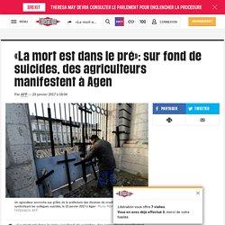 «La mort est dans le pré»: sur fond de suicides, des agriculteurs manifestent à Agen