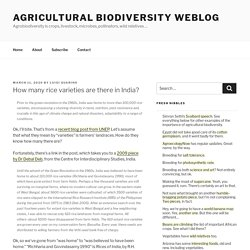 How many rice varieties are there in India? – Agricultural Biodiversity Weblog