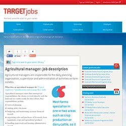 Agricultural manager: job description