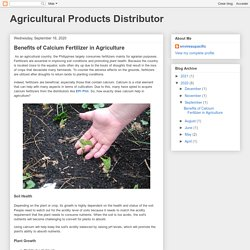 Agricultural Products Distributor: Benefits of Calcium Fertilizer in Agriculture