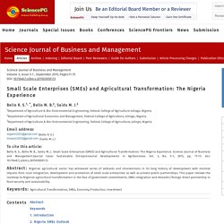 Small Scale Enterprises (SMEs) and Agricultural Transformation: The Nigeria Experience