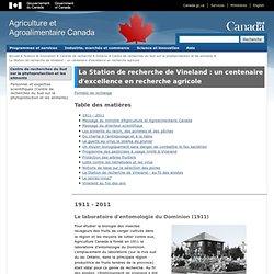 AGRICULTURE CANADA 06/11/12 La Station de recherche de Vineland : un centenaire d'excellence en recherche agricole