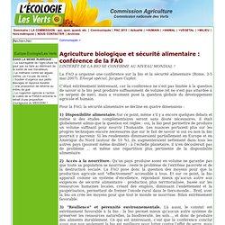 Agriculture biologique et sécurité alimentaire : conférence de la FAO