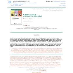 2007 - ALIMENTS ISSUS DE L'AGRICULTURE BIOLOGIQUE