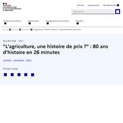 """""""L'agriculture, une histoire de prix?"""" : 80 ans d'histoire en 26 minutes"""