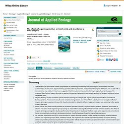 The effects of organic agriculture on biodiversity and abundance: a meta-analysis - BENGTSSON - 2005 - Journal of Applied Ecology