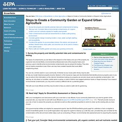 Steps to Create a Community Garden or Expand Urban Agriculture