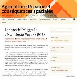 «Agriculture Urbaine et conséquences spatiales