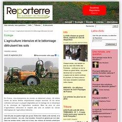 REPORTERRE 30/09/14 L'agriculture intensive et le bétonnage détruisent les sols