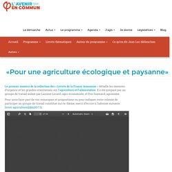 «Pour une agriculture écologique et paysanne» - JLM 2017
