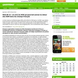 GREENPEACE 26/04/10 Maïs Bt 11 : un avis du HCB qui pourrait sonner le retour des OGM dans les champs français