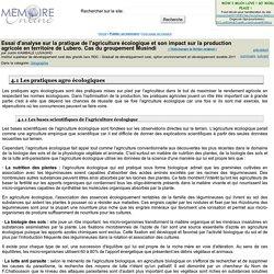 Institut supérieur de développement rural des grands lacs RDC - 2011 - Essai d'analyse sur la pratique de l'agriculture ecologique et son impact sur la production agricole en territoire de Lubero. Cas du groupement Musindi
