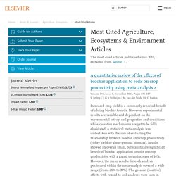 Most Cited Agriculture, Ecosystems & Environment Articles