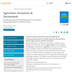 Agriculture, Ecosystems & Environment