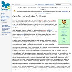 Agr. naturelle: Les Fertilisants